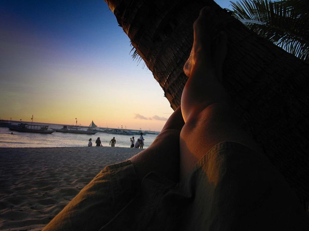Sonneruntergang an meiner Palme, White Beach, Boracay 2001
